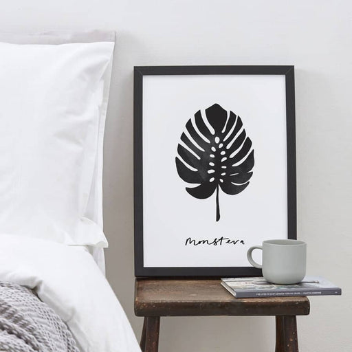 hand-lettered monstera plant print monstrea