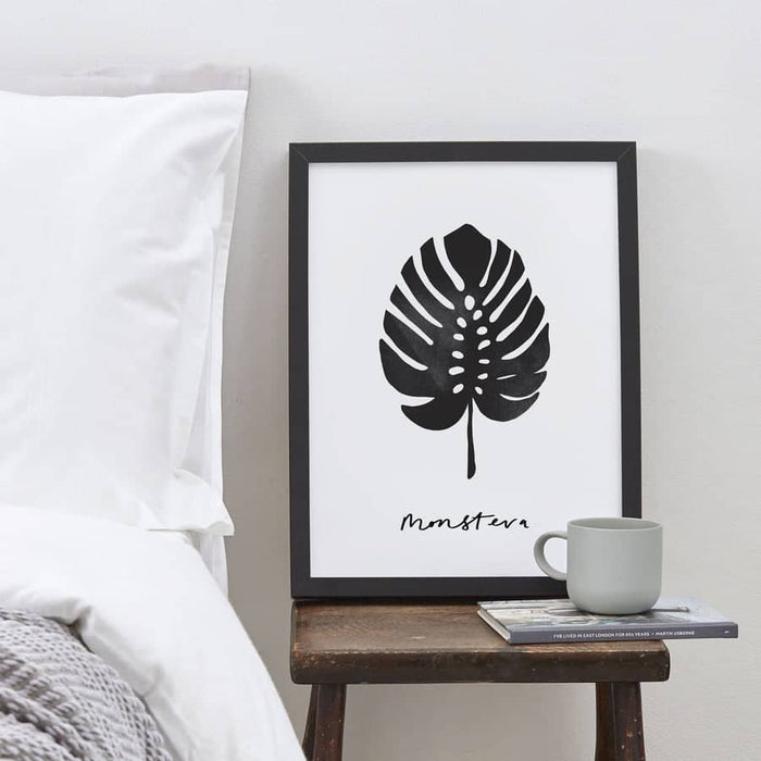 hand lettered monstera plant print monstrea