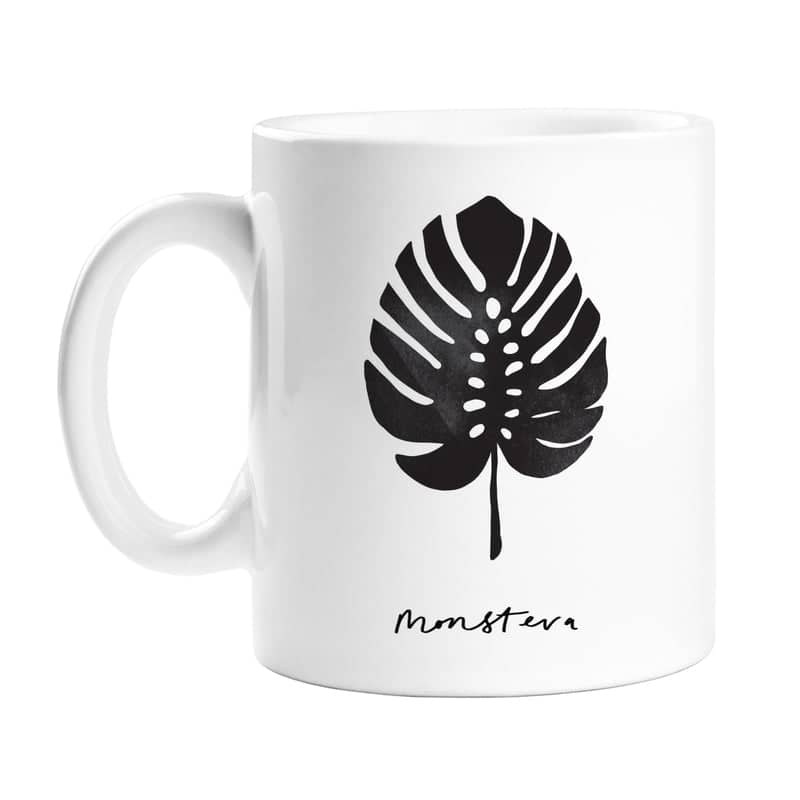 Monstera leaf plant mug