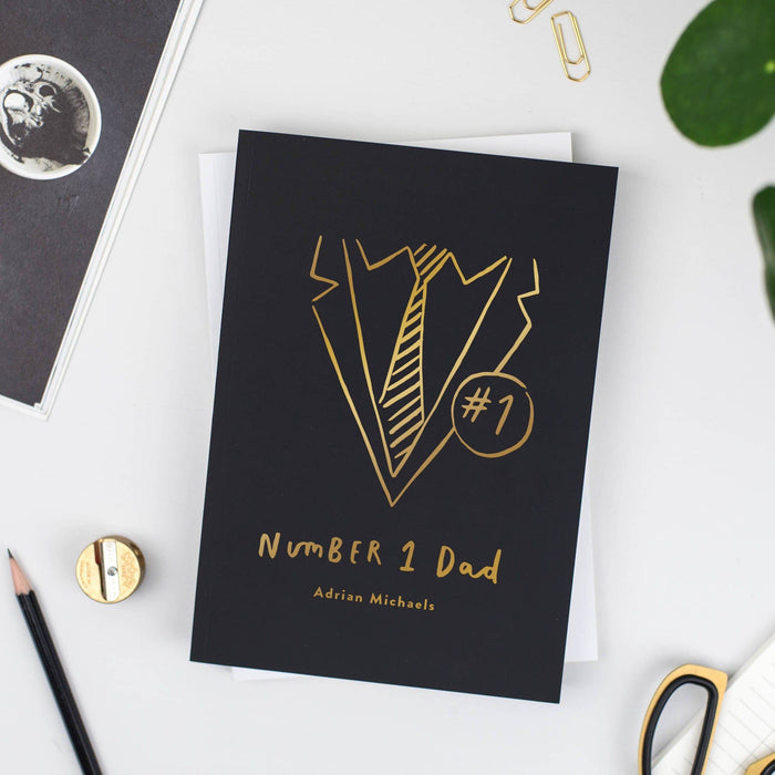Black Number One Dad Personalised Foil Notebook