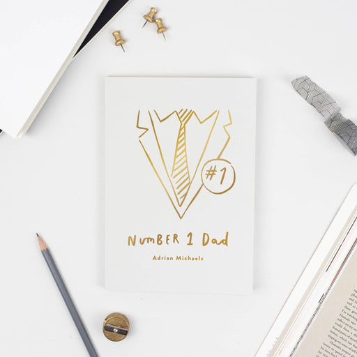 Grey Personalised Foil Number One Dad Notebook