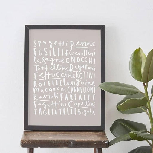 pasta variety typography kitchen print