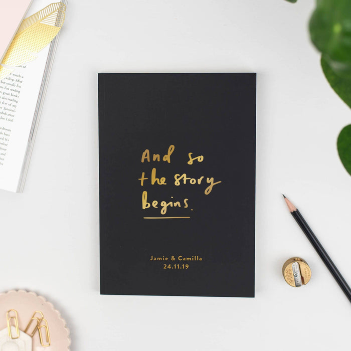 So the story begins personalised wedding notebook