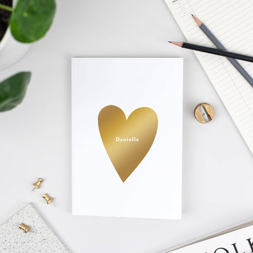 Foil Love Heart personalised A5 Notebook
