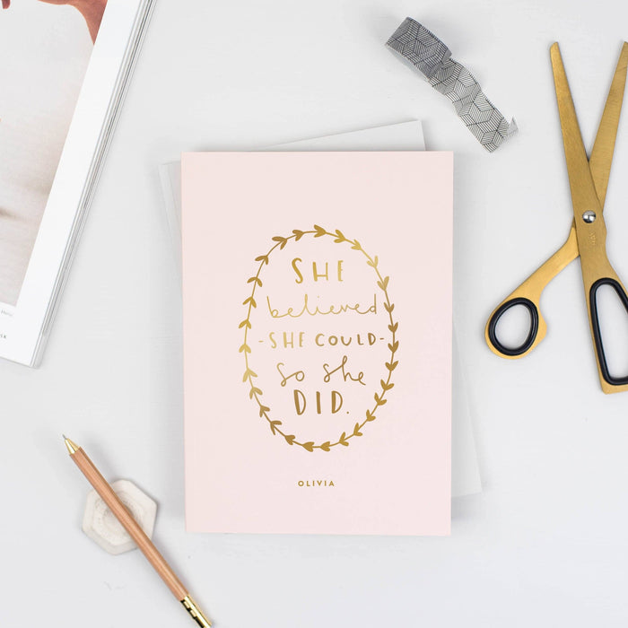she believed personalised notebook
