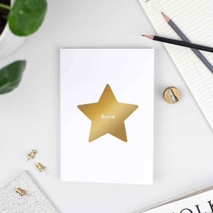 White Personalised Star Notebook
