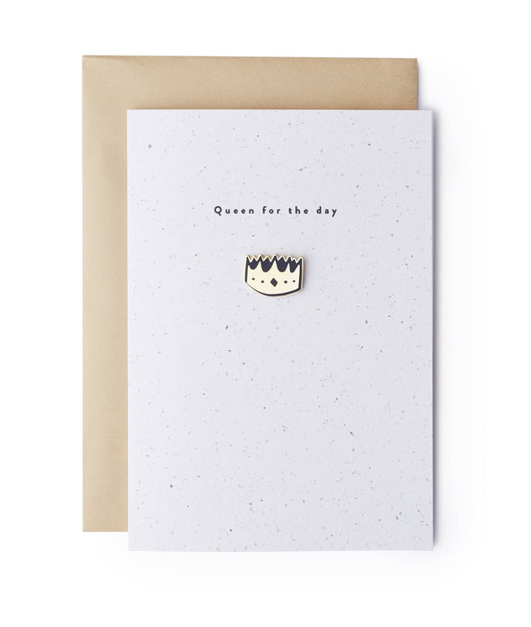Queen Crown Enamel Pin Card