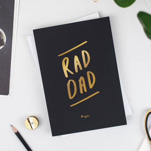 Black Rad Dad Personalised Foil Notebook