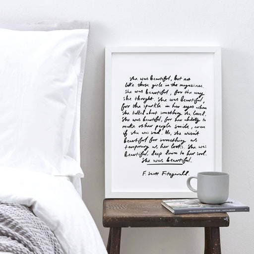 She was Beautiful F.Scott Fitzgerald Quote Print