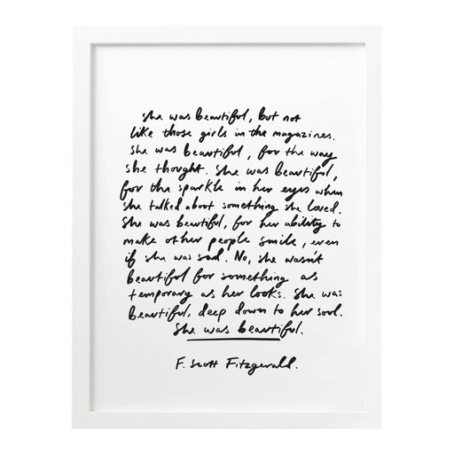 She was Beautiful F.Scott Fitzgerald Quote Art Print