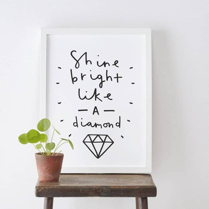 shine bright like a diamond typography print