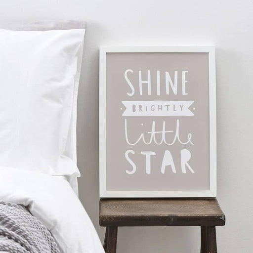 new baby shine brightly typography print