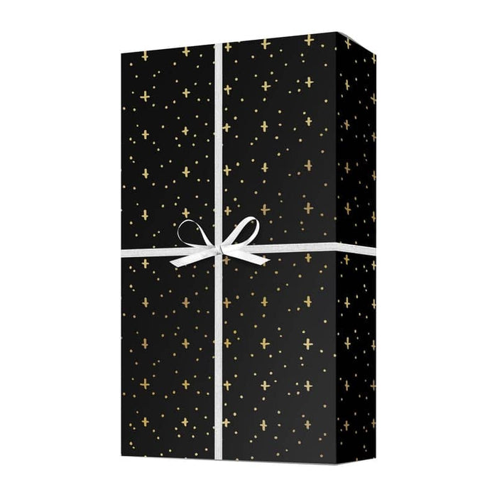 gold star metallic gift wrap