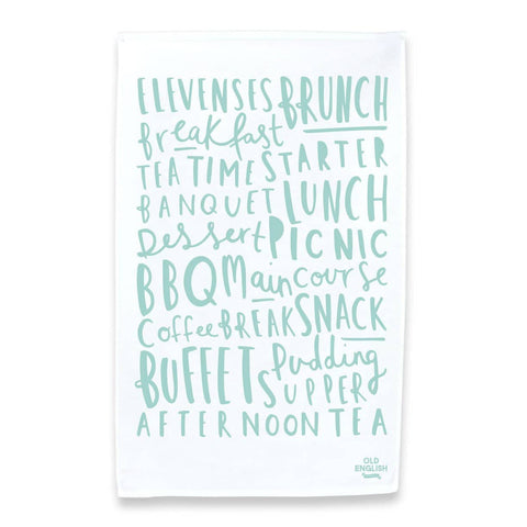 Meal Names Tea Towel Green