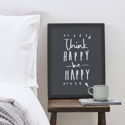 think happy be happy positive motivational typography print