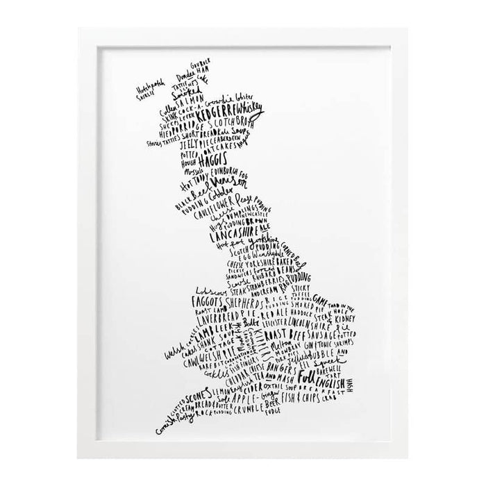 typographic british food map