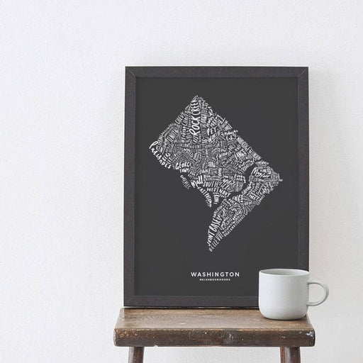 Washington Charcoal Map Art Print