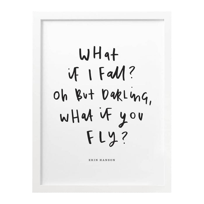 What If I Fall Print Typography Print Old English Company Hand