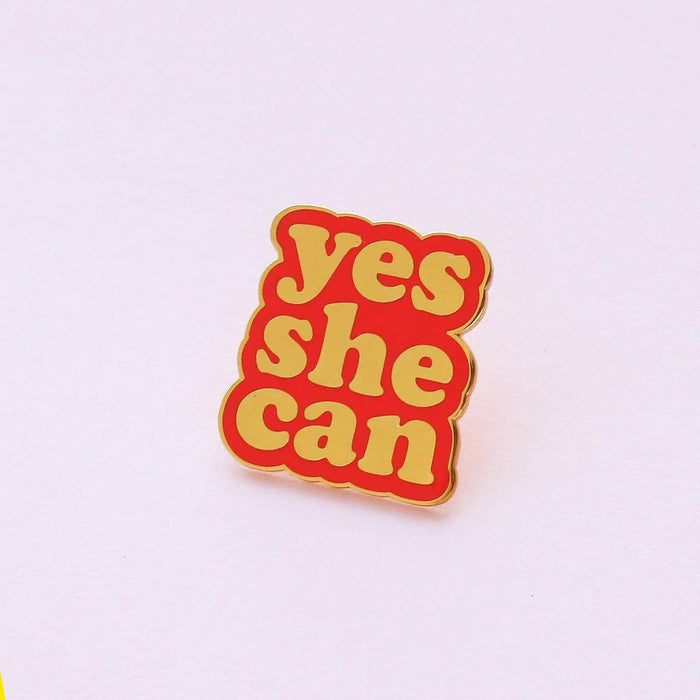 Red Yes She Can Enamel Pin