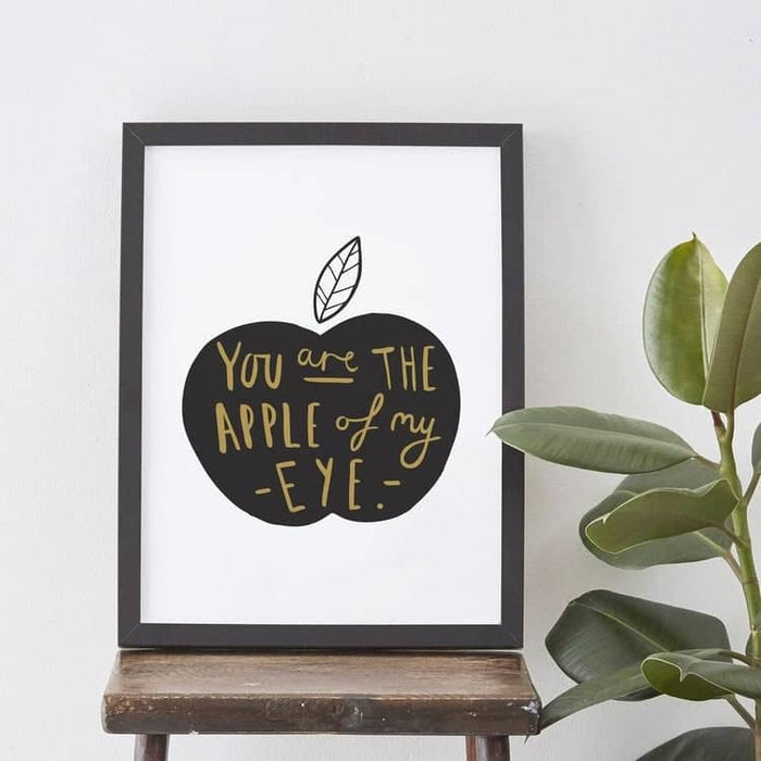 Apple of my eye typography print black and gold