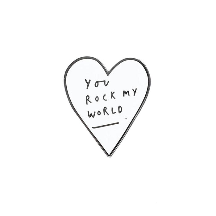 you rock my world enamel pin