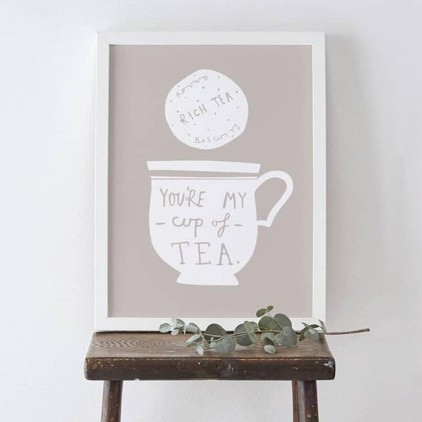 tea cup and biscuit illustration print