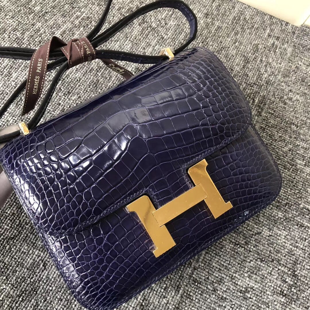 South Korea Hermes Constance 19cm alligator crocodile 7E明藍色 Blue Brighton