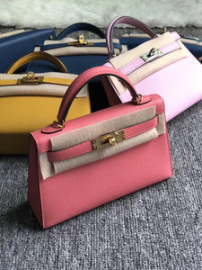 Hong Kong Hermes Kelly Mini 2 代 Epsom 8W Rose Azalee 新唇膏粉