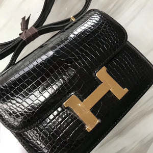 Hermes Constance 19 CK89黑色Noir HCP亮面倒V灣鱷 Shiny porosus crocodile