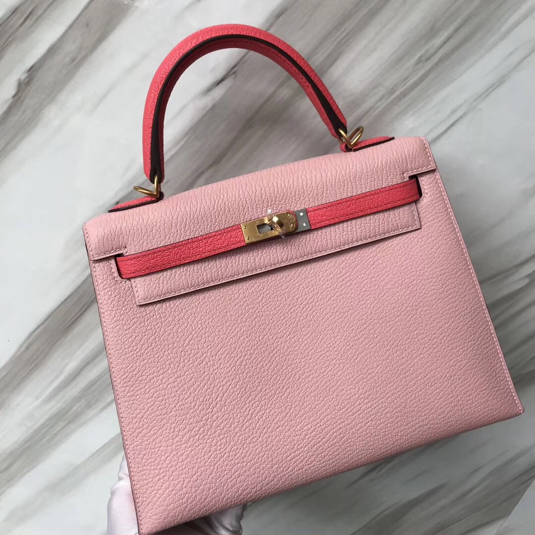 Hermes kelly Bag 25 Chevre山羊皮 3Q新粉色/8w新唇膏粉 拉絲金扣