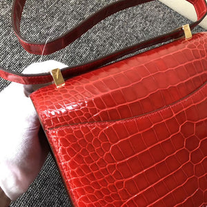 Hong Kong Hermes Constance 24cm alligator crocodile ck95 Braise 法拉利紅