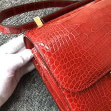 將圖片載入圖庫檢視器 Hong Kong Hermes Constance 24cm alligator crocodile ck95 Braise 法拉利紅