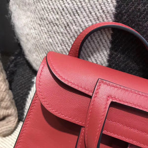愛馬仕Halzan mini bag Swift calfskin K1石榴紅Rouge grenat