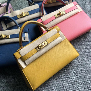 Hong Kong Hermes Kelly Mini 2 代 19cm Chevre 山羊皮 9D Amber 琥珀黃