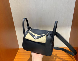 愛馬仕lindy迷妳19尺寸 Hermes mini Lindy taurillon Clemence leather CC89黑色