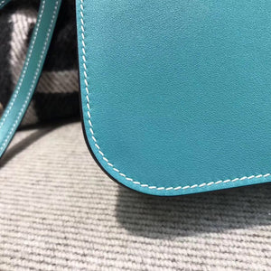 Hermes入門款肩背迷妳包 Halzan mini bag Swift calfskin 7F Blue paon湖水綠