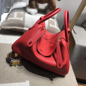 Hermes Lindy bag 30cm TC大牛皮 s5番茄紅rouge tomate金扣金屬