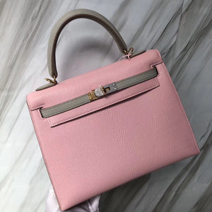 Singapore Hermès Kelly 25cm Chevre山羊皮 1Q奶昔粉拼CK80珍珠灰