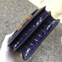 將圖片載入圖庫檢視器 South Korea Hermes Constance 19cm alligator crocodile 7E明藍色 Blue Brighton