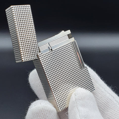 Rare Diamond Head Silver S. T. Dupont Ligne Gatsby Lighter