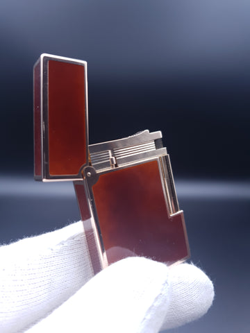 Rare 18K 750 Gold S. T. Dupont Ligne Gatsby Chinese Lacquer Lighter 80's