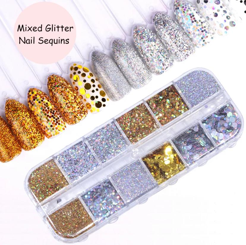 1 Set Nail Art Glitter Gold Silver Holo Nail Sequins Flake Paillettes
