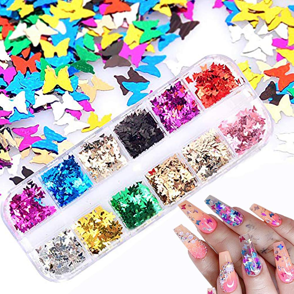 12 Colors Butterfly Glitter Nail Sequins