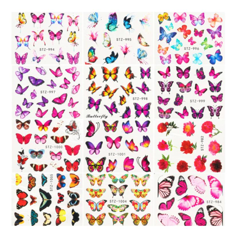 30 Sheet Butterfly Sunflowers Nails Stickers
