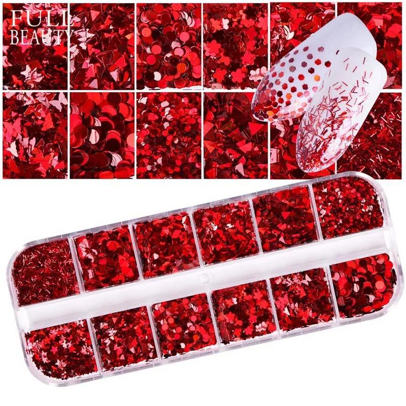 Red Nail Sequins Triangle Round Star Heart Butterfly 3D Shiny Nail Glitter