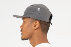 SANTA MONICA-5 PANEL CAP IN NYLON - GREY/WHITE