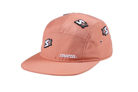 SANTA MONICA-5 PANEL CAP IN NYLON - PINK/WHITE
