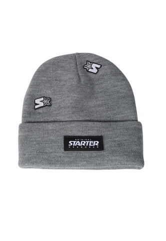 ALASKA KNITTED BEANIE HAT - GREY MARL/BLACK
