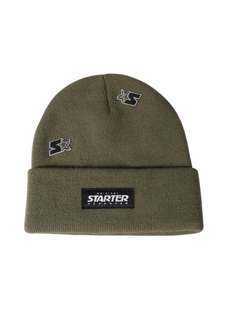 ALASKA KNITTED BEANIE HAT - KHAKI/BLACK