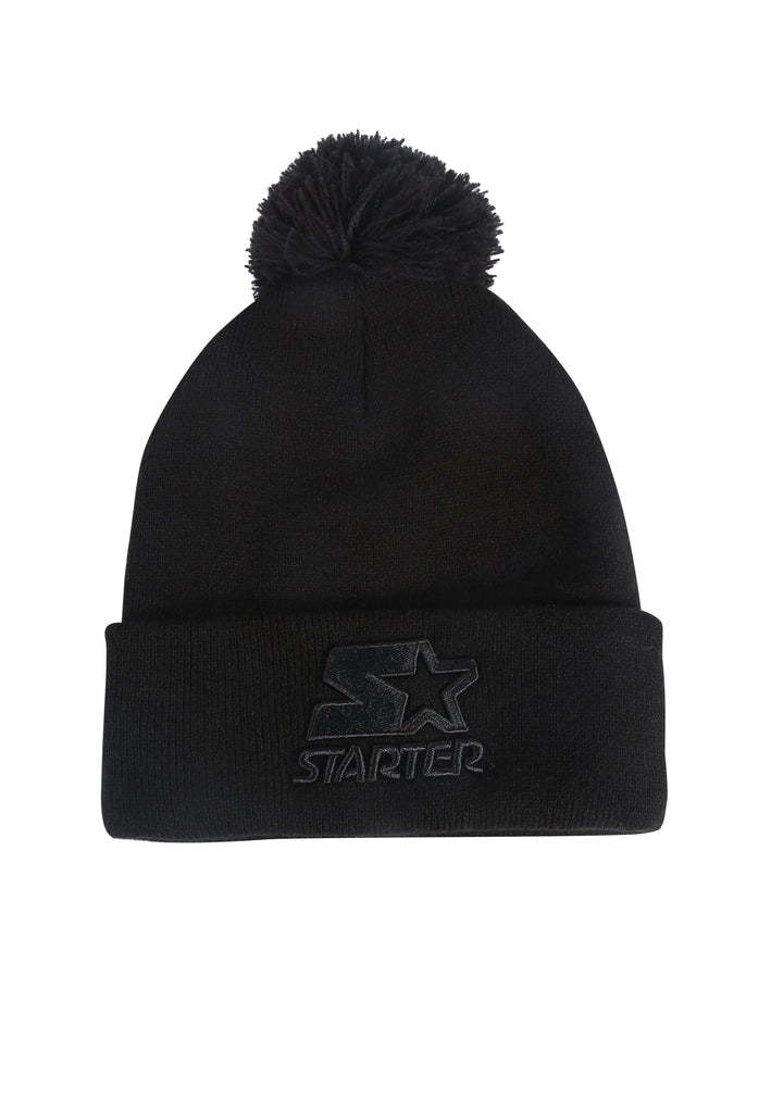 ATLANTA  KNITTED BOBBLE HAT - BLACK/BLACK